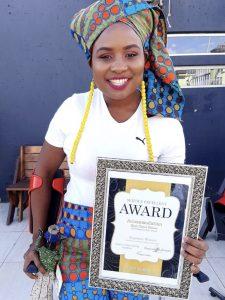 Karabo Nguyuza with her Award